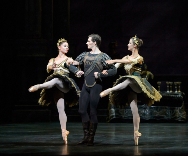 <p><em>Swan Lake: </em>Jamie Bond as Prince Siegfried with Maureya Lebowitz and Laura Purkiss as Courtesans</p>. Credit: Bill Cooper.