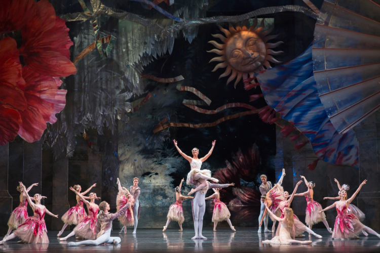 <p><em>The Nutcracker: </em>Céline Gittens as the Rose Fairy and Yasuo Atsuji as her Consort with Artists of Birmingham Royal Ballet</p>. Credit: Andrew Ross.
