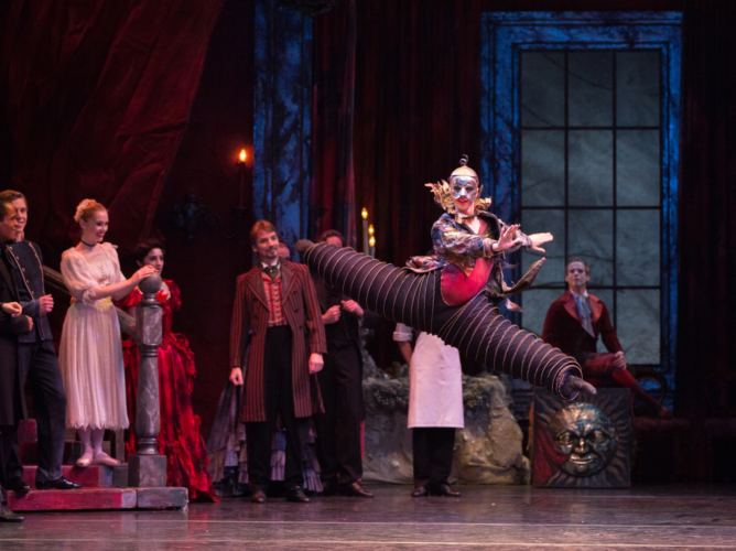 <p><em>The Nutcracker:</em> Lewis Turner as Jack-in-the-Box with Artists of Birmingham Royal Ballet</p>. Credit: Andrew Ross.