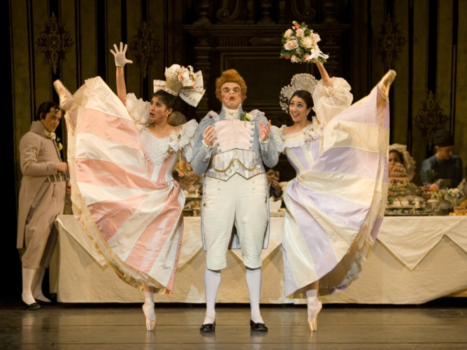 <p><em>Beauty and the Beast: </em>Lei Zhao as Vanité, Angela Paul as Fière and James Grundy as Monsieur Cochon</p>. Credit: Bill Cooper.