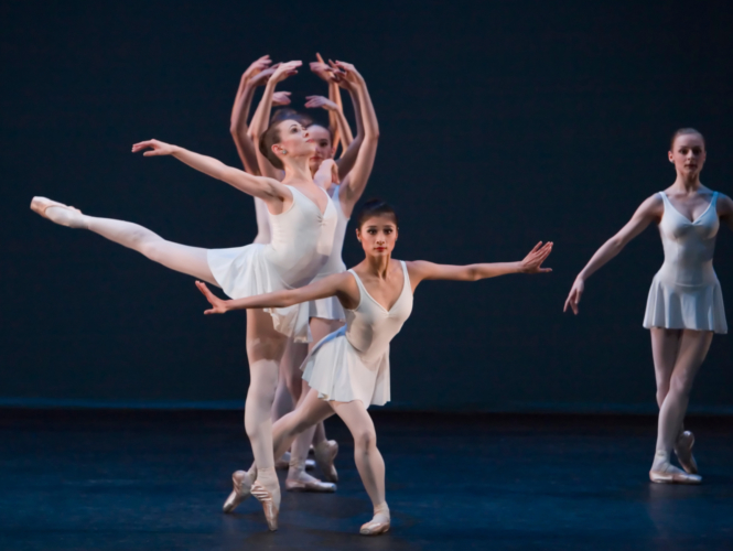<p><em>Concerto barocco: </em>Lei Zhao with Artists of Birmingham Royal Ballet</p>. Credit: Andrew Ross.