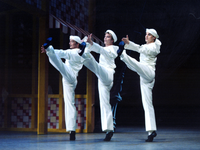 <p><em>Fancy Free:</em> Michael Revie, Robert Parker and James Grundy as Sailors</p>. Credit: Bill Cooper.