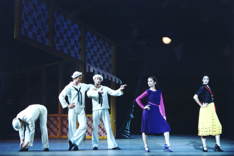 <p><em>Fancy Free:</em> Rachel Peppin and Angela Paul as Passers-By with Robert Parker, James Grundy and Michael Revie as a Sailors</p>. Credit: Bill Cooper.