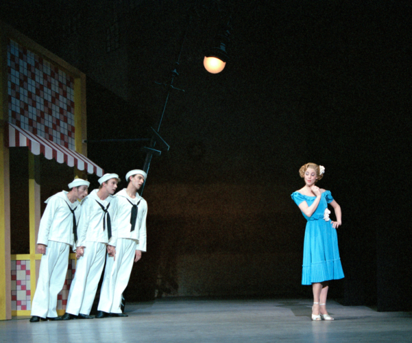 <p><em>Fancy Free:</em> Victoria Marr as a Passer-By with Robert Parker, Michael Revie and James Grundy as a Sailors</p>. Credit: Bill Cooper.