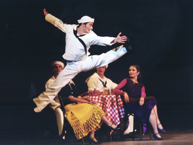 <p><em>Fancy Free:</em> Michael Revie as a Sailor with Artists of Birmingham Royal Ballet</p>. Credit: Bill Cooper.