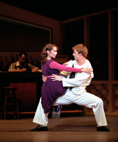 <p><em>Fancy Free:</em> Rachel Peppin as a Passer-By and Robert Parker as a Sailor</p>. Credit: Bill Cooper.