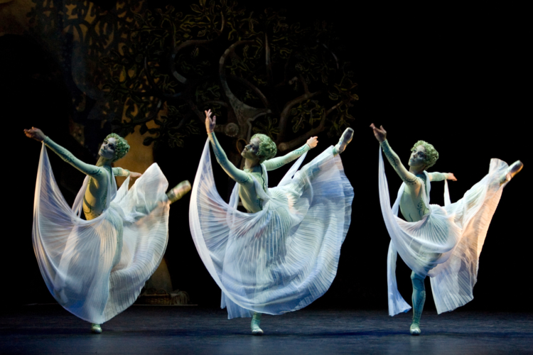 <p><em>Daphnis and Chloë: </em>Andrea Tredinnick, Silvia Jimenez and Victoria Marr as Nymphs of Pan</p>. Credit: Bill Cooper.