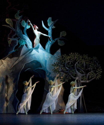 <p><em>Daphnis and Chloë: </em>Andrea Tredinnick, Silvia Jimenez and Victoria Marr as Nymphs, and Tom Rogers as Pan</p>. Credit: Bill Cooper.