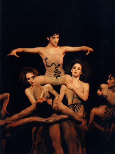<p><em>The Cage: </em>Monica Zamora as the Novice and Joseph Cipolla as the Second Intruder with Andrea Tredinnick, Nicole Tongue and Asya Verzhbinsky</p>. Credit: Bill Cooper.