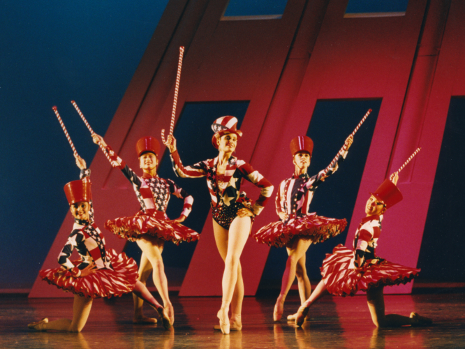 <p><em>The Nutcracker Sweeties:</em> Silvia Jimenez as Candy Kane with Artists of Birmingham Royal Ballet</p>. Credit: Bill Cooper.