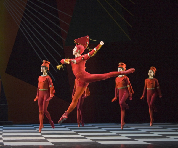<p><em>Checkmate: </em>Steven Monteith as the Second Red Knight with Artists of Birmingham Royal Ballet</p>. Credit: Bill Cooper.