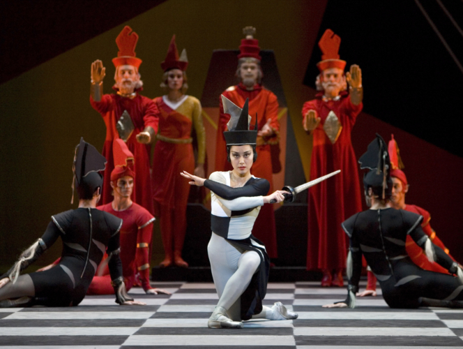<p><em>Checkmate: </em>Nao Sakuma as the Black Queen with Artists of Birmingham Royal Ballet</p>. Credit: Bill Cooper.
