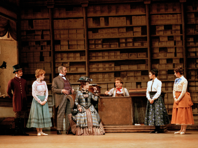 <p><em>Hobson's Choice: </em>Leticia Müller as Maggie Hobson, Anne Marie Little as Vickey Hobson, Grace Maduell as Alice Hobson, Michael O'Hare as Will Mossop, Desmond Kelly as Henry Hobson and Anita Landa as Mrs Hepworth</p>. Credit: Bill Cooper.