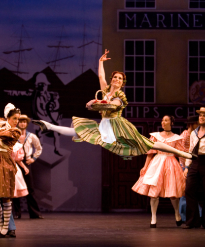 <p><em>Pineapple Poll:</em> Carol-Anne Millar as Pineapple Poll with Artists of Birmingham Royal Ballet</p>. Credit: Bill Cooper.