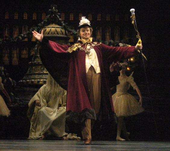 <p><em>Coppélia: </em>Jonathan Payn as the Burgomaster</p>. Credit: Roy Smiljanic.