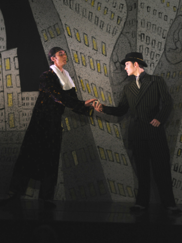 <p><em>Slaughter on Tenth Avenue: </em>Valentin Olovyannikov as Morosine and Mathias Dingman as the Gangster</p>. Credit: Roy Smiljanic.
