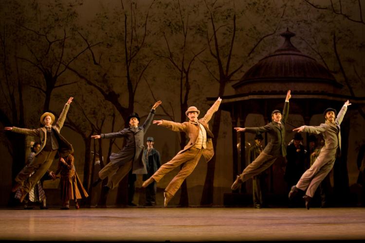 <p><em>Hobson's Choice: </em>Chi Cao as Fred Beenstock with Artists of Birmingham Royal Ballet</p>. Credit: Bill Cooper.