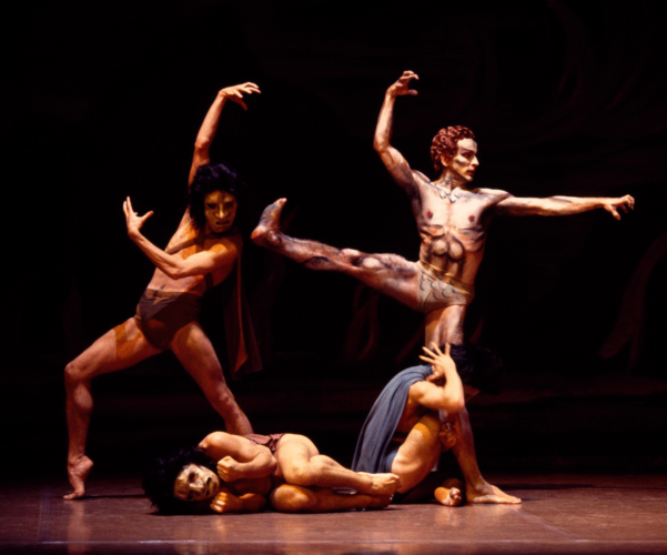 <p><em>Job</em>: Michael O'Hare as Satan with Artists of Birmingham Royal Ballet as the Three Pestilences</p>. Credit: Bill Cooper.