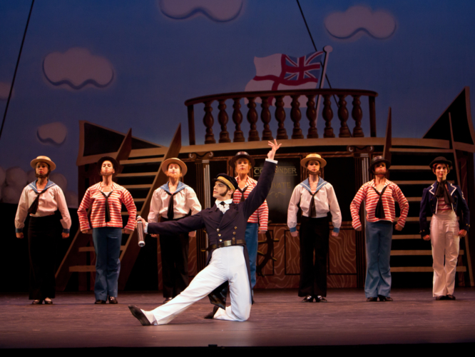 <p><em>Pineapple Poll:</em> Dominic Antonucci as Captain Belaye with Artists of Birmingham Royal Ballet</p>. Credit: Bill Cooper.