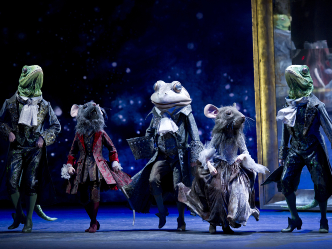 <p><em>Cinderella: </em>James Barton as the Frog Coachman, Valentin Olovyanikov and Jonathan Payn as Lizard Footmen and Students of Elmhurst School for Dance as Mouse Pages</p>. Credit: Bill Cooper.