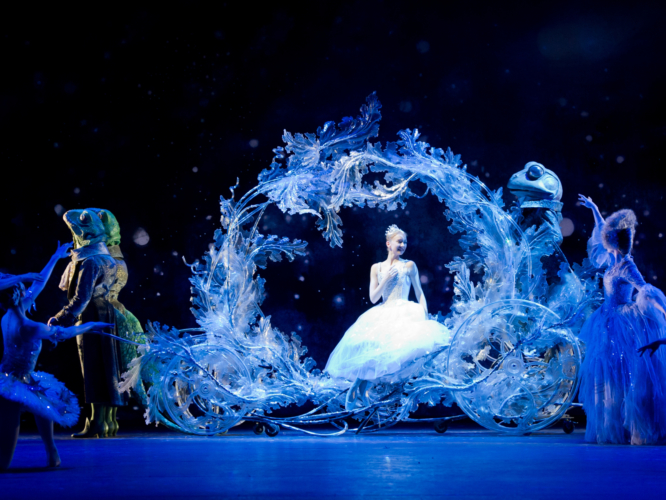<p><em>Cinderella: </em>Elisha Willis as Cinderella with Artists of Birmingham Royal Ballet</p>. Credit: Bill Cooper.