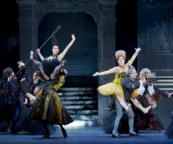 <p><em>Cinderella: </em>Gaylene Cummerfield as Skinny, Carol-Anne Millar as Dumpy, Rory Mackay as the Major Domo and Benjamin Soerel as a Waiter with Artists of Birmingham Royal Ballet</p>. Credit: Bill Cooper.
