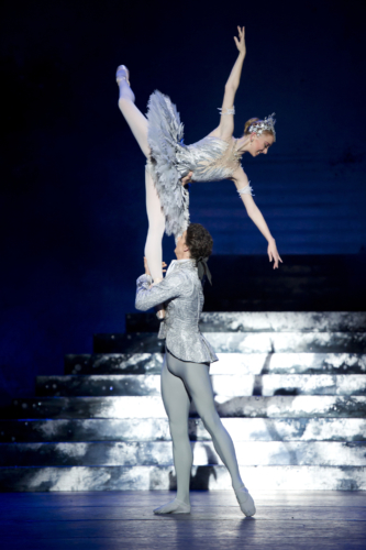 <p><em>Cinderella: </em>Elisha Willis as Cinderella and Iain Mackay as the Prince</p>. Credit: Bill Cooper.