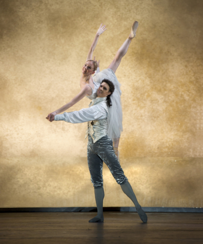 <p><em>Cinderella:</em> Elisha Willis as Cinderella and Iain Mackay as the Prince</p>. Credit: Bill Cooper.