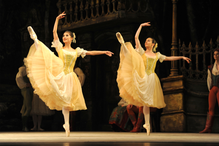 <p><em>Coppélia: </em>Lei Zhao and Arancha Baselga as Swanilda's Friends</p>. Credit: Roy Smiljanic.