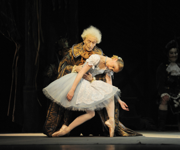 <p><em>Coppélia: </em>Elisha Willis as Swanilda and David Morse as Dr Coppélius</p>. Credit: Roy Smiljanic.