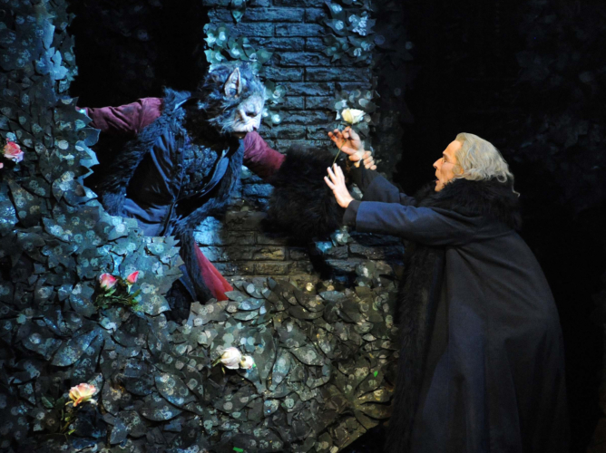 <p><em>Beauty and the Beast: </em>Chi Cao as the Beast and Michael O'Hare as the Merchant</p>. Credit: Roy Smiljanic.