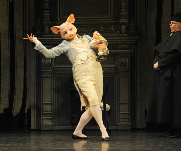 <p><em>Beauty and the Beast: </em>Jonathan Payn as Monsieur Cochon</p>. Credit: Roy Smiljanic.
