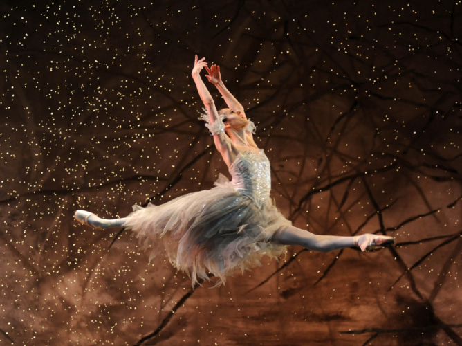 <p><em>The Nutcracker:</em> Samara Downs as the Snow Fairy</p>. Credit: Roy Smiljanic.