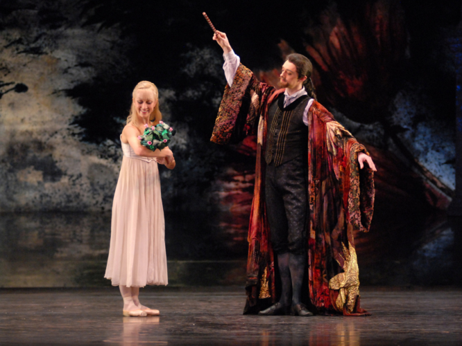 <p><em>The Nutcracker: </em>Laura Purkiss as Clara and Rory Mackay as Drosselmeyer</p>. Credit: Roy Smiljanic.