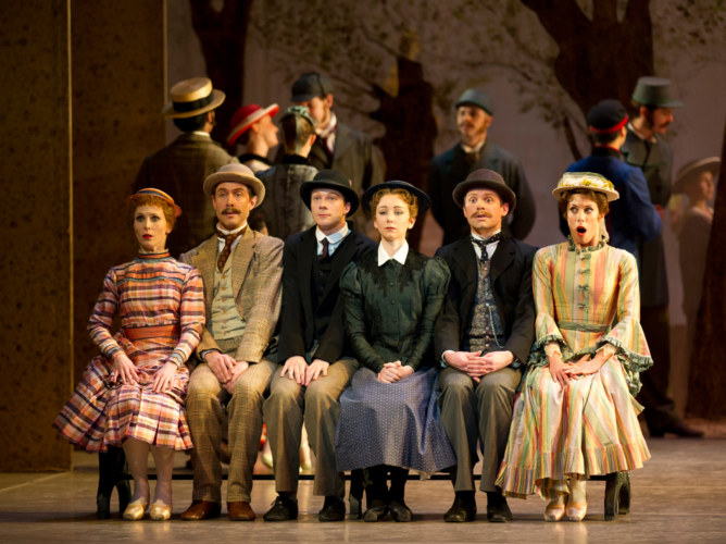 <p><em>Hobson's Choice:</em> Carol-Anne Millar as Vickey Hobson, Elisha Willis as Maggie Hobson, Victoria Marr as Alice Hobson, Matthew Lawrence as Fred Beenstock, Robert Parker as Will Mossop and Jonathan Payn as Albert Prosser</p>. Credit: Bill Cooper.