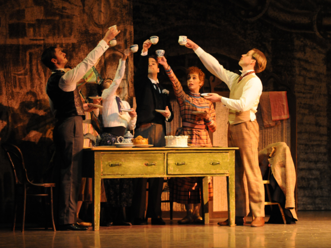 <p><em>Hobson's Choice:</em> Ambra Vallo as Maggie Hobson, Laëtitia Lo Sardo as Alice Hobson, Rory Mackay as Albert Prosser, Alexander Campbell as Will Mossop and Steven Monteith as Fred Beenstock</p>. Credit: Geoff Slack.