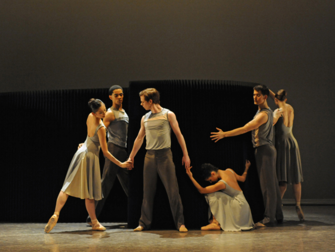 <p><em>Lyric Pieces: </em>Yijing Zhang, Brandon Lawrence, James Barton, Maureya Lebowitz and Mathias Dingman in 'Remembrances'</p>. Credit: Roy Smiljanic.