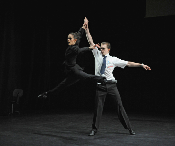 <p><em>9-5:</em> Samara Downs as the Boss and Joseph Caley as Winston</p>. Credit: Roy Smiljanic.
