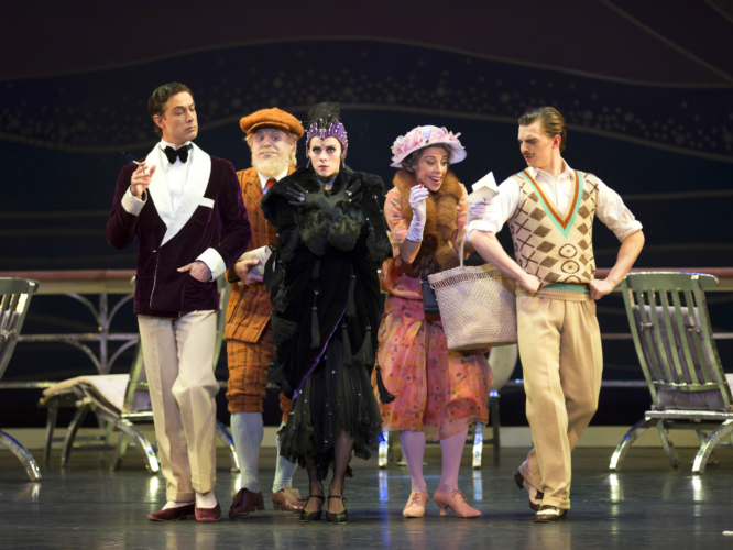 <p><em>The Grand Tour:</em> Matthew Lawrence as Noël Coward, Jonathan Payn as George Bernard Shaw, Samara Downs as Theda Bara, Victoria Marr as the American Lady and Joseph Caley as Douglas Fairbanks</p>. Credit: Bill Cooper.