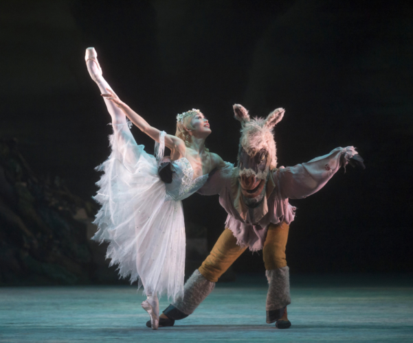 <p><em>The Dream:</em> Nao Sakuma as Titania and Jonathan Caguioa as Bottom</p>. Credit: Bill Cooper.
