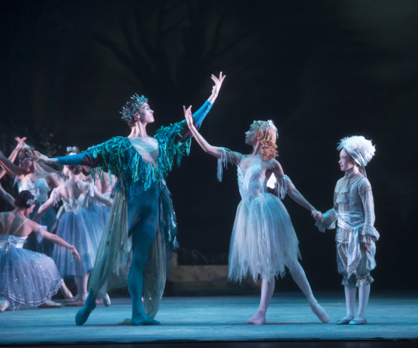 <p><em>The Dream: </em>Natasha Oughtred as Titania and William Bracewell as Oberon</p>. Credit: Bill Cooper.
