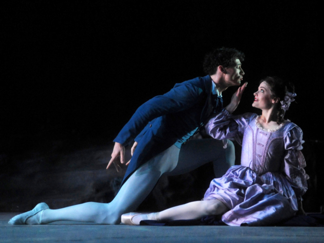 <p><em>The Dream: </em>Delia Mathews as Hermia and Tom Rogers as Lysander</p>. Credit: Roy Smiljanic.