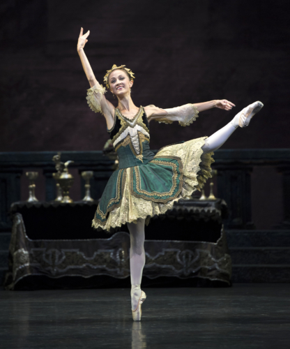 <p><em>Swan Lake: </em>Laura Purkiss as a Courtesan</p>. Credit: Bill Cooper.