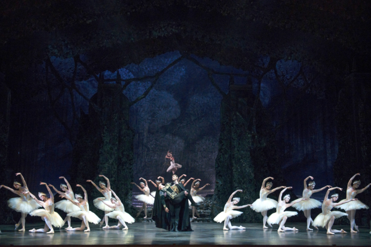 <p><em>Swan Lake:</em> Mathias Dingman as Benno with Artists of Birmingham Royal Ballet</p>. Credit: Bill Cooper.