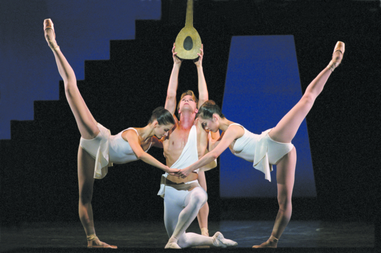 <p><em>Apollo: </em>Asta Bazeviciúte as Terpsichore, Nao Sakuma as Polyhymnia and Robert Parker as Apollo</p>. Credit: Bill Cooper.