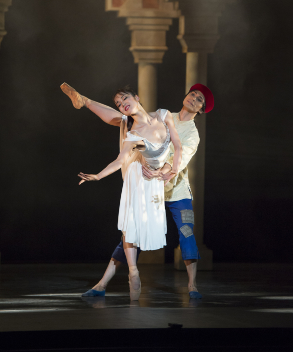 <p><em>Aladdin: </em>Nao Sakuma as Princess Badr al-Budur and César Morales as Aladdin</p>. Credit: Bill Cooper.