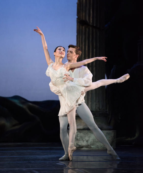 <p><em>Sylvia:</em> Momoko Hirata as Sylvia and Joseph Caley as Amynta</p>. Credit: Bill Cooper.