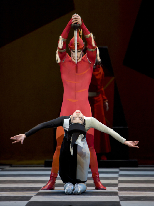 <p><em>Checkmate: </em>Nao Sakuma as the Black Queen and Iain Mackay as the First Red Knight</p>. Credit: Bill Cooper.
