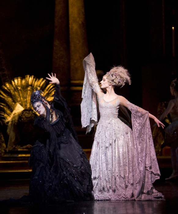<p><em>The Sleeping Beauty: </em>Samara Downs as Carabosse and Andrea Tredinnick as the Lilac Fairy</p>. Credit: Bill Cooper.