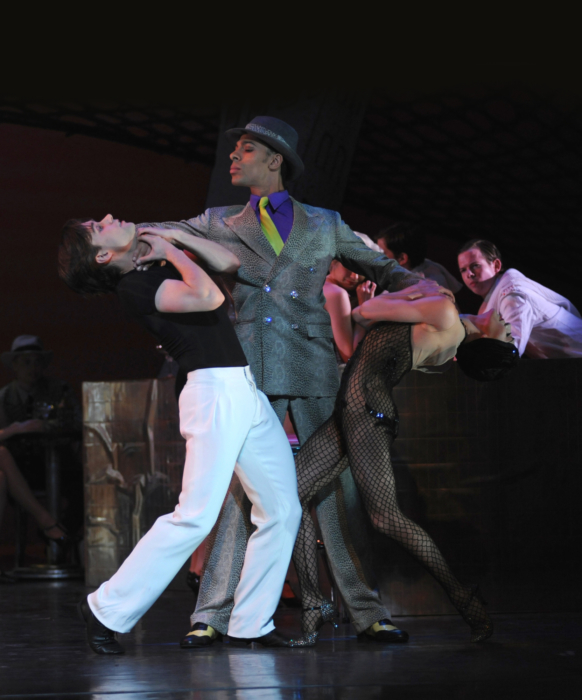 <p><em>Slaughter on Tenth Avenue: </em>Ambra Vallo as the Striptease Girl, Alexander Campbell as the Hoofer and Tyrone Singleton as Big Boss</p>. Credit: Roy Smiljanic.